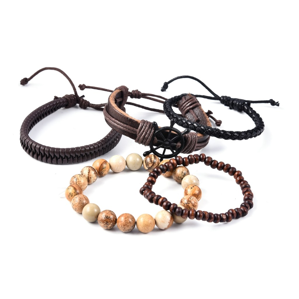 An assortment of men's bracelets for stacking.