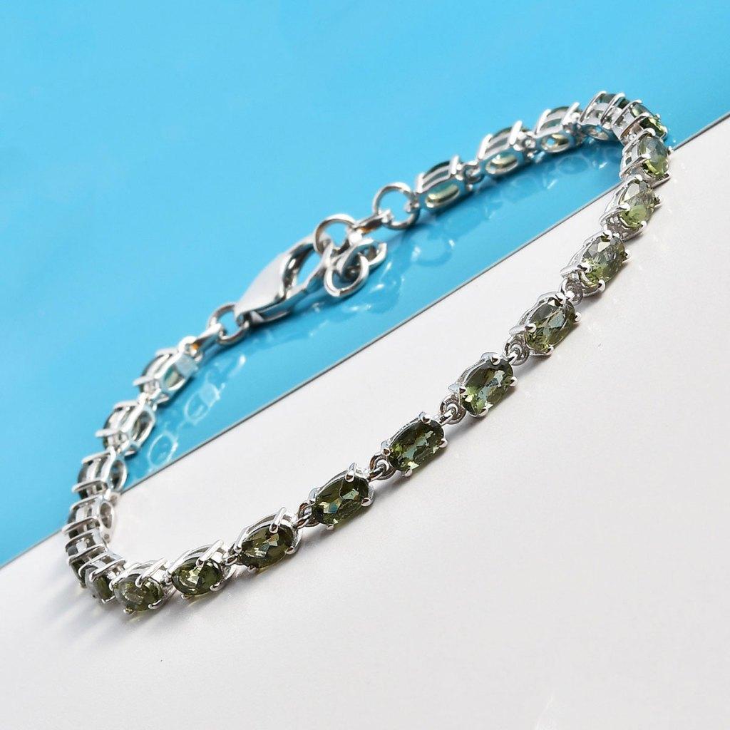 Bohemian Moldavite Bracelet in Platinum Over Sterling Silver