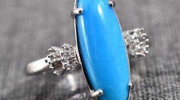 ILIANA AAA Premium Arizona Sleeping Beauty Turquoise Ring in 18K White Gold