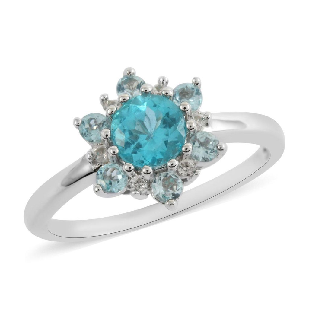 Snowflake ring with blue apatite in sterling silver setting.