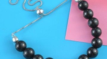 California Black Jade Bolo Bracelet in Platinum Over Sterling Silver