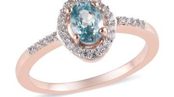 Blue Zircon, White Zircon Birthstone Ring in Vermeil RG Over Sterling Silver