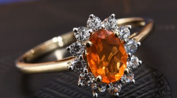 Jalisco Fire Opal, Zircon Ring in 10K Yellow Gold