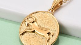 Vermeil YG Over Sterling Silver Aries Zodiac Pendant Necklace