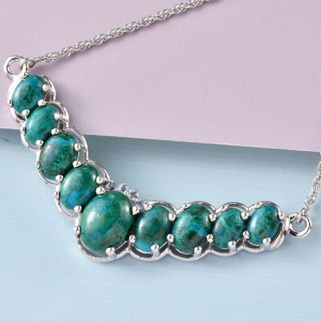 Chrysocolla Necklace in Platinum Over Sterling Silver
