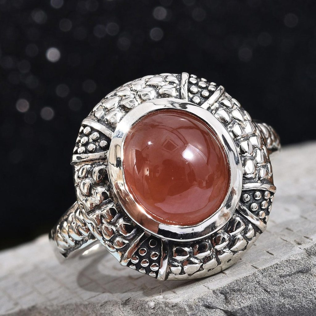 Peruvian Honey Rhodochrosite Ring in Black Oxidized Sterling Silver