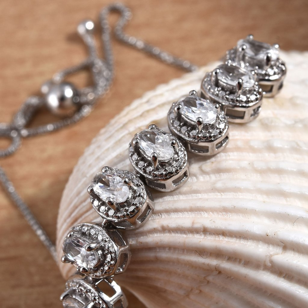 Natural White Zircon Bolo Bracelet in Platinum Over Sterling Silver
