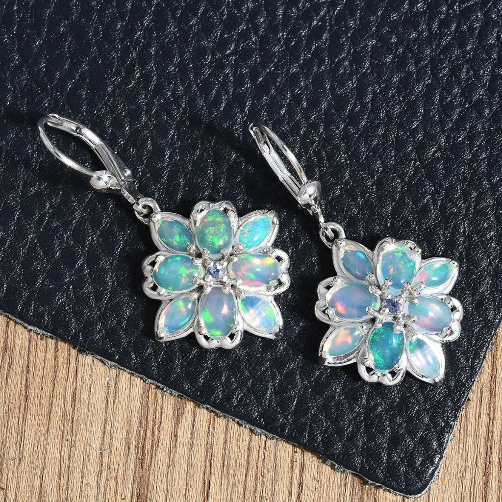 Ethiopian Welo Opal, Tanzanite Lever Back Earrings in Platinum Over Sterling Silver
