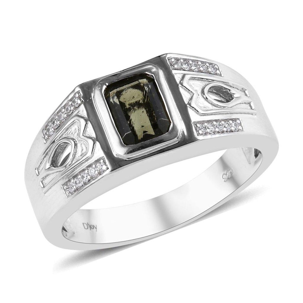 Bohemian Moldavite and Zircon Men's Ring in Platinum Over Sterling Silver