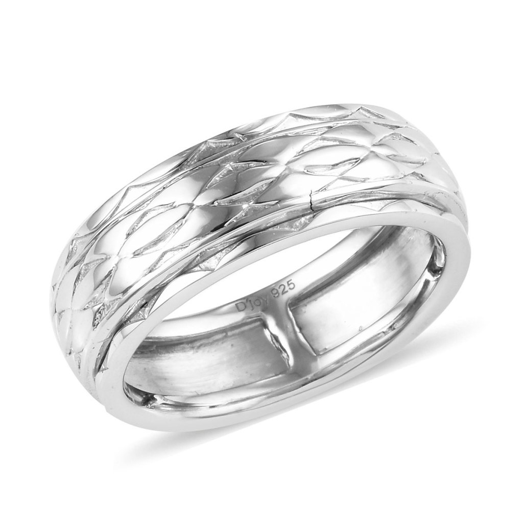 Platinum Over Men's Spinner Ring in Sterling Silver
