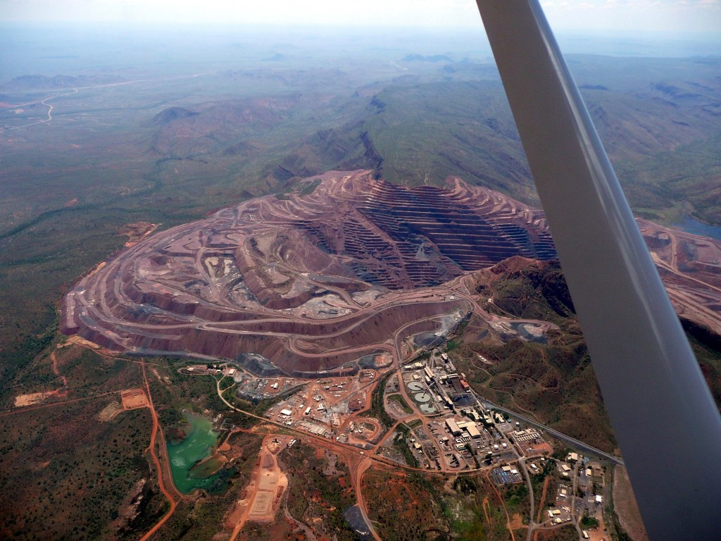 Aerial view of the Argyle diamond mine.