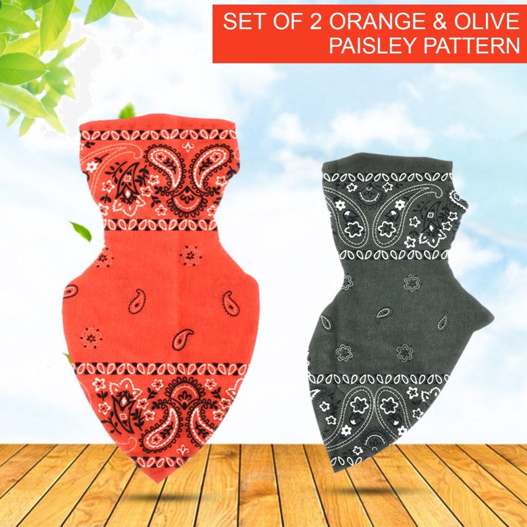 Orange & Olive Paisley Pattern Tube Scarf Mask