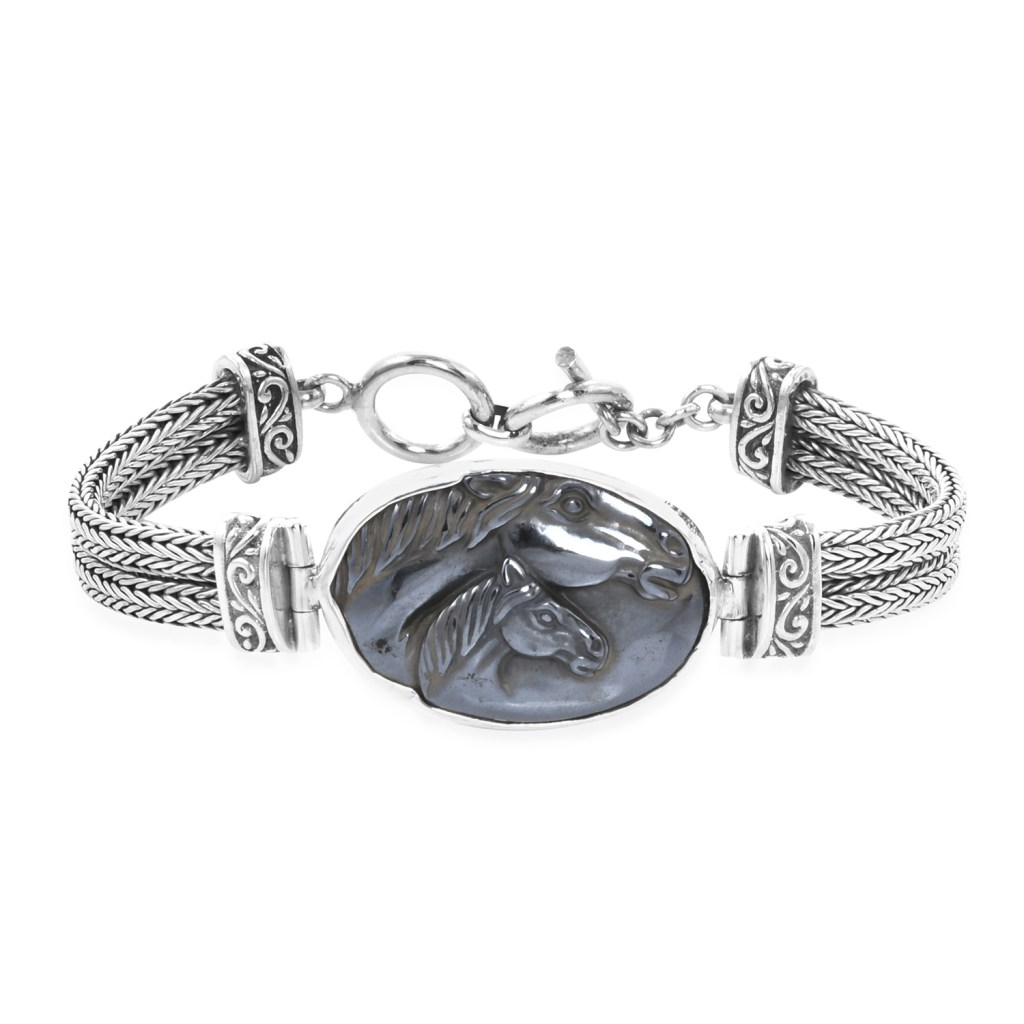 Sajen Silver carved horse bracelet in sterling silver.