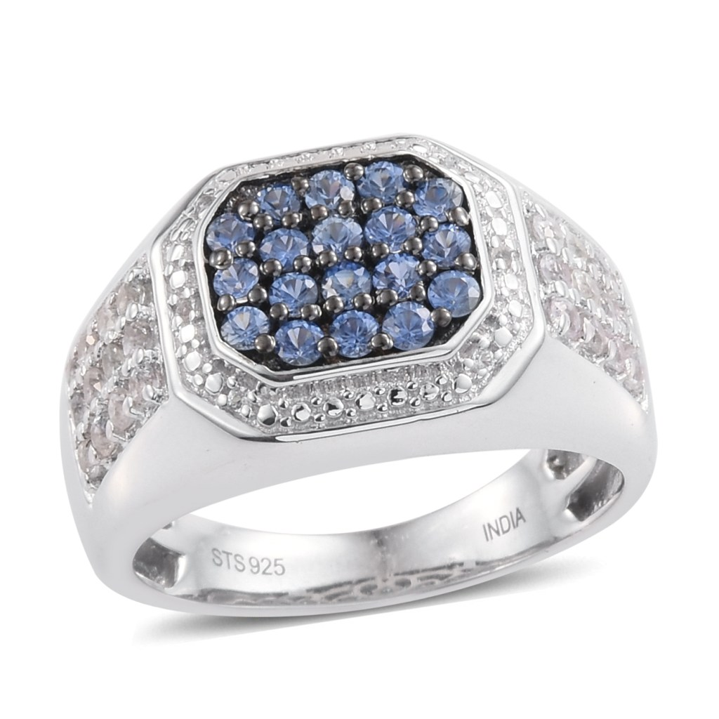Sapphire men's ring in sterling silver.