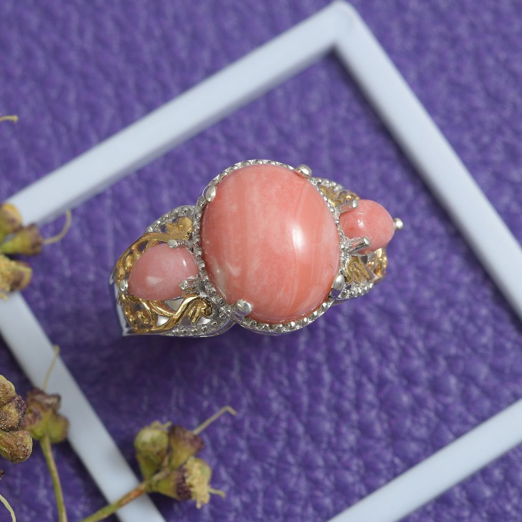 Oregon Sunrise Peach Opal ring in sterling silver with gold accents.