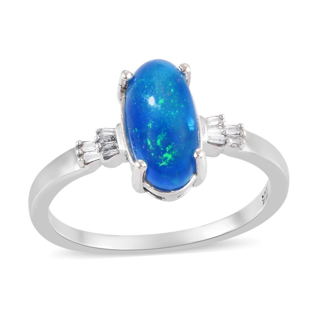 Blue opal ring in sterling silver.