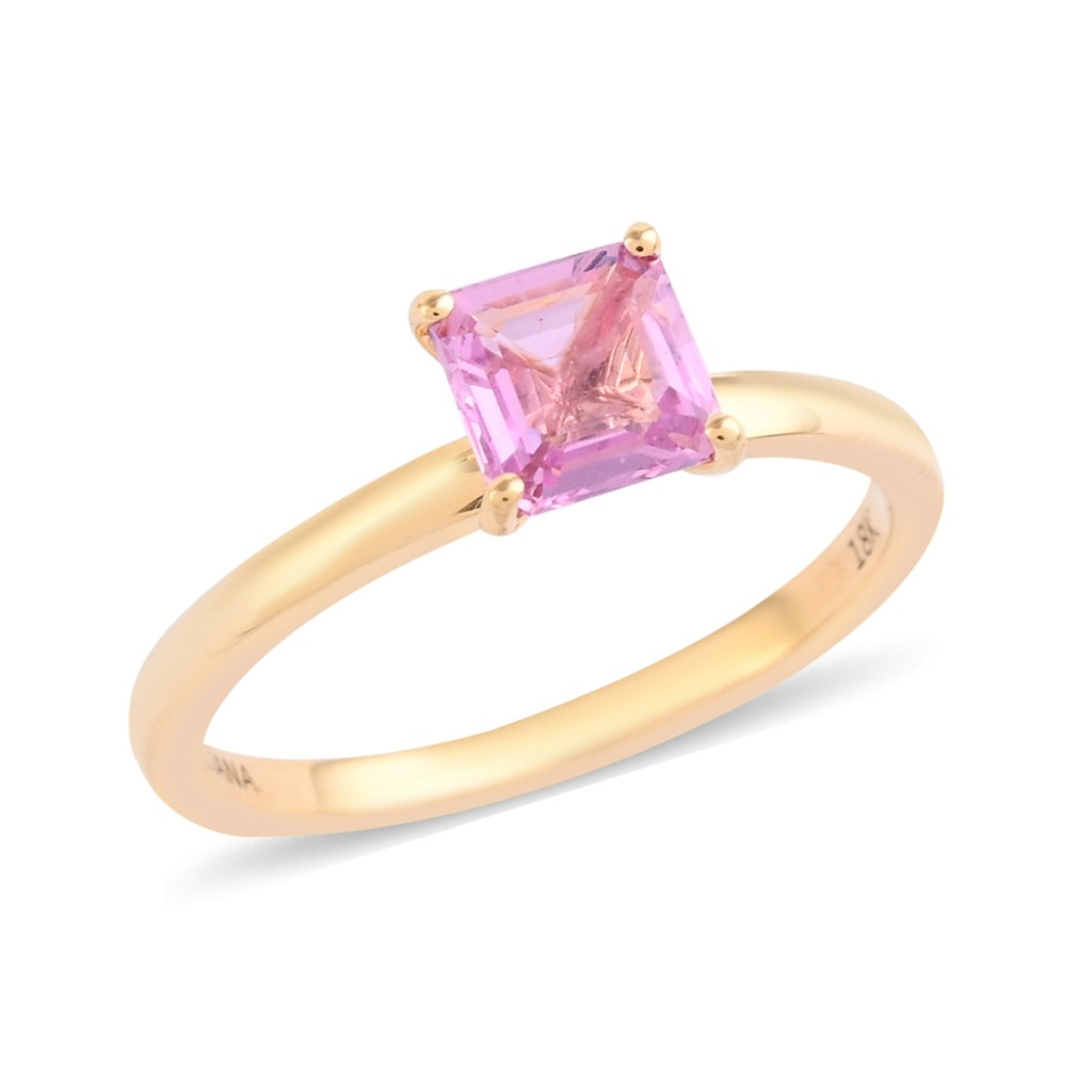 Princess cut pink sapphire ring in 18K yellow gold.