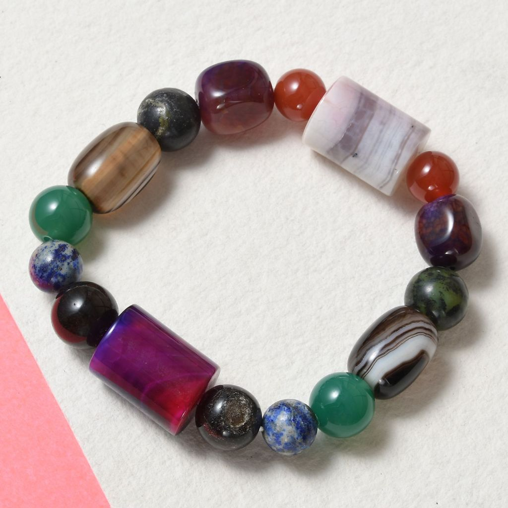 Colorful agate bead bracelet.