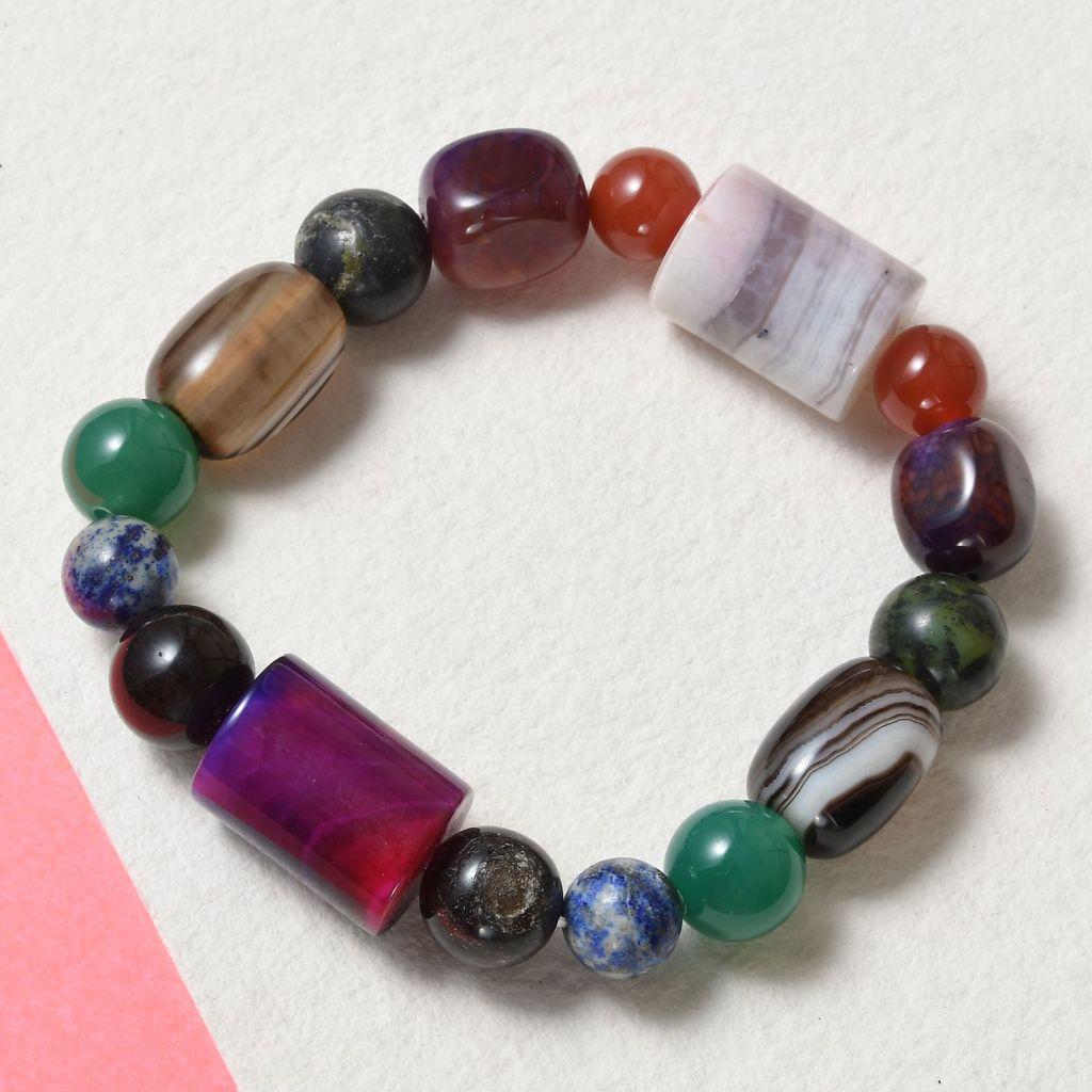 Colorful agate bead bracelet.