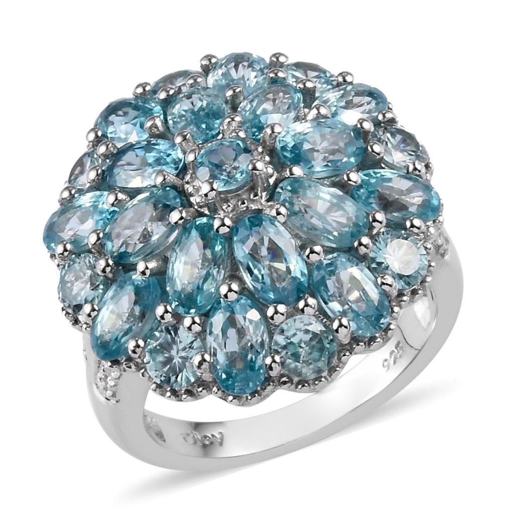 Blue zircon dome ring.