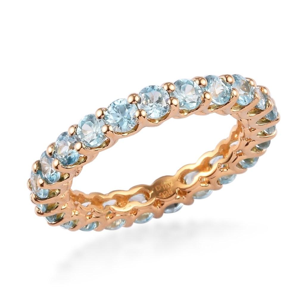 Gold blue zircon ring.