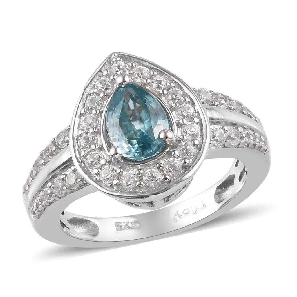 Blue zircon teardrop ring.