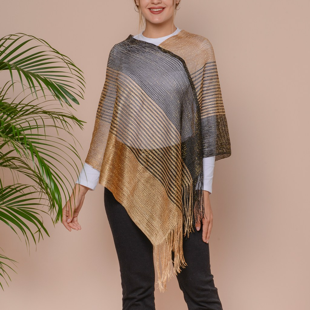 Gold and black poncho.