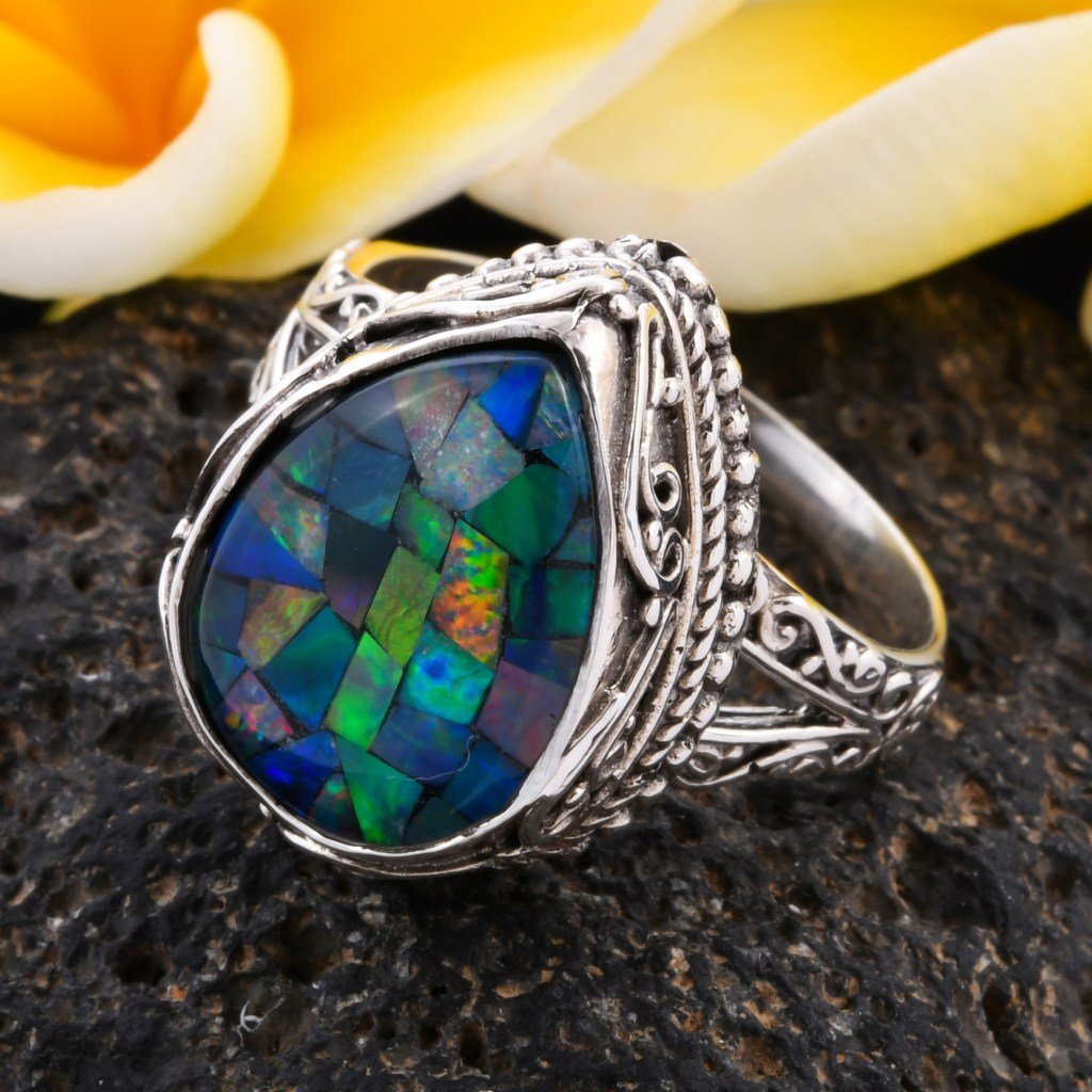 Mosaic opal ring in sterling silver.