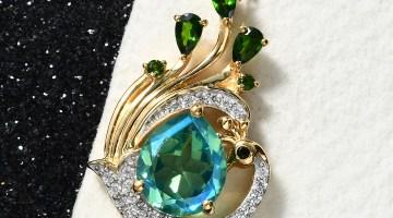 Peacock pendant necklace.