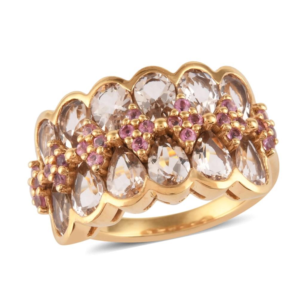 Pink tourmaline ring yellow gold.