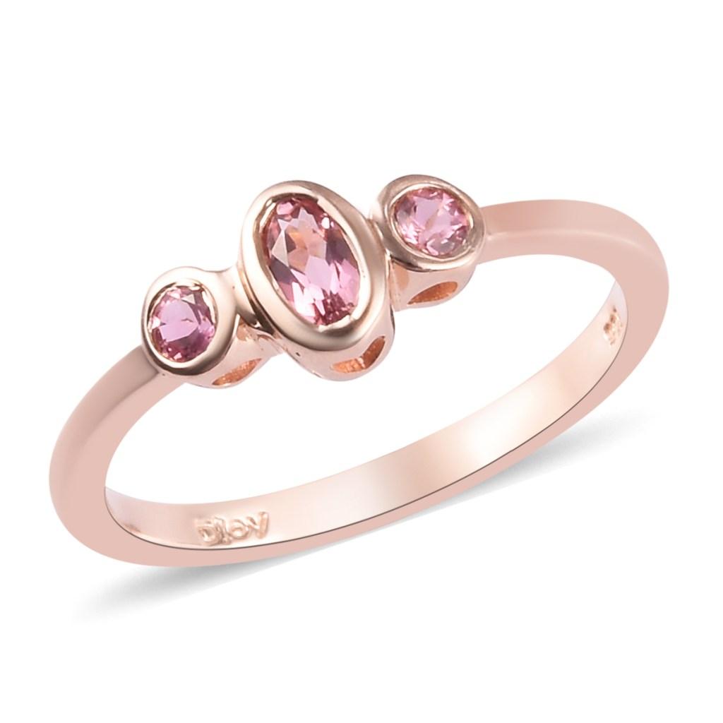 Pink tourmaline ring rose gold.