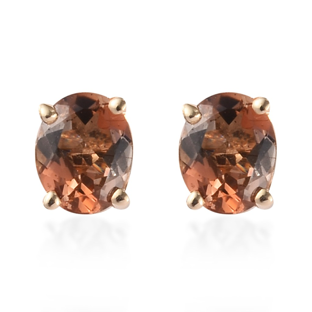 Andalusite stud earrings in 10K yellow gold.