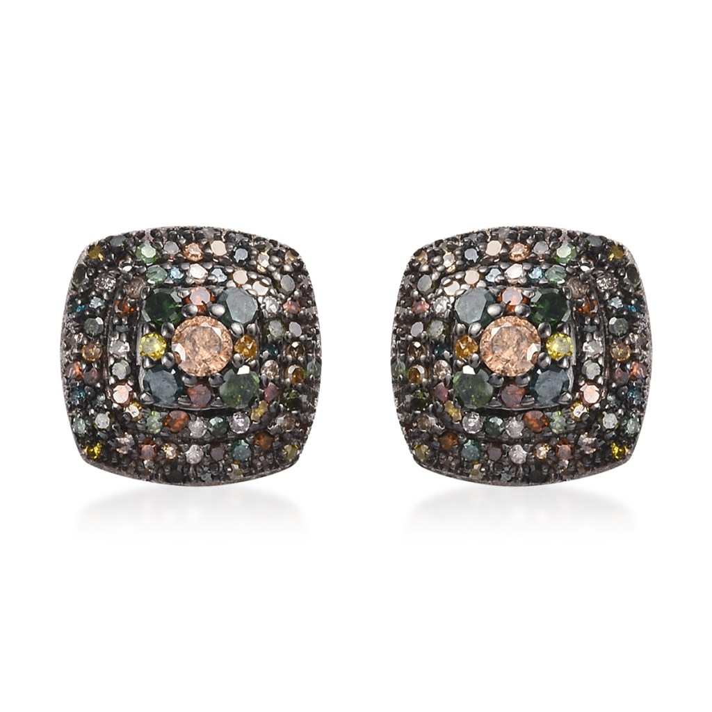 Colorful diamond stud earrings.