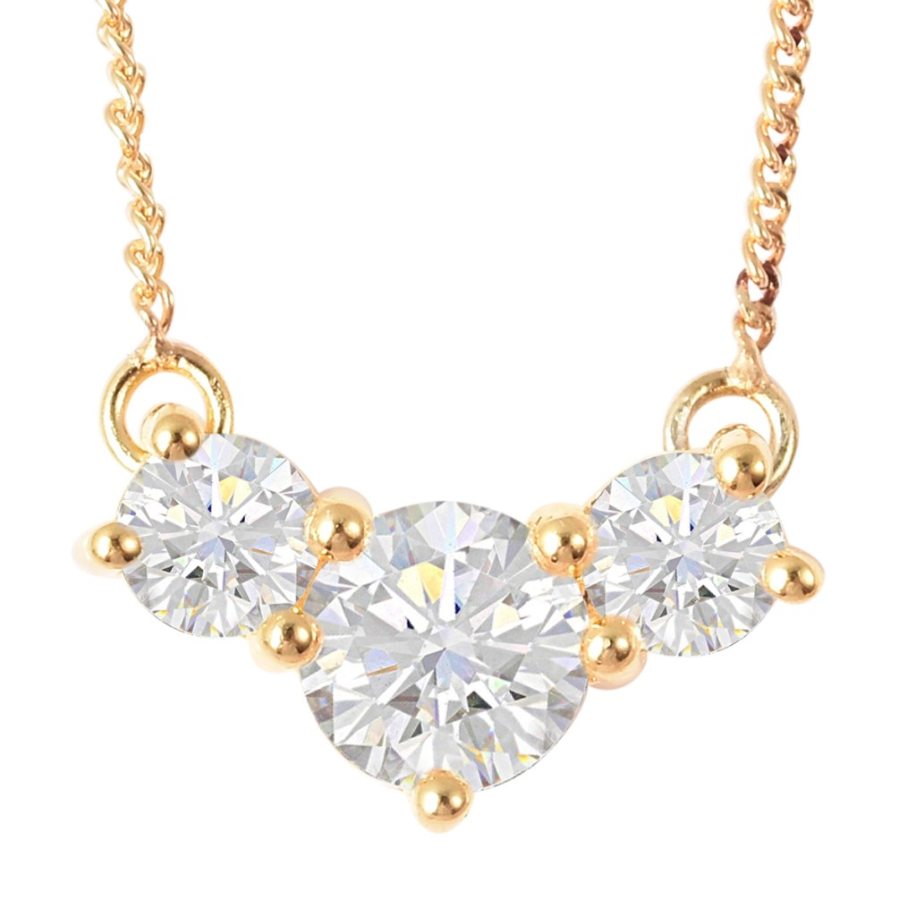 Gold moissanite necklace.