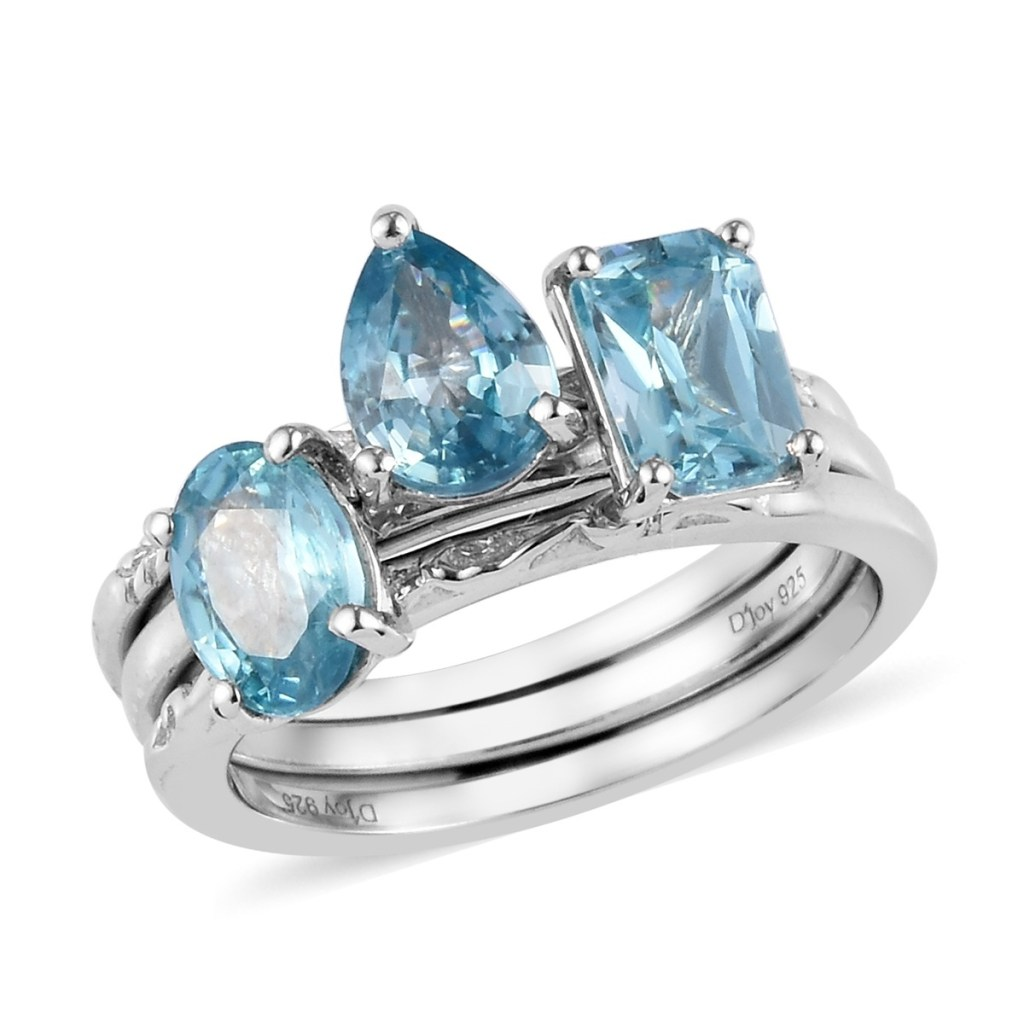 Blue zircon stacking rings in sterling silver.