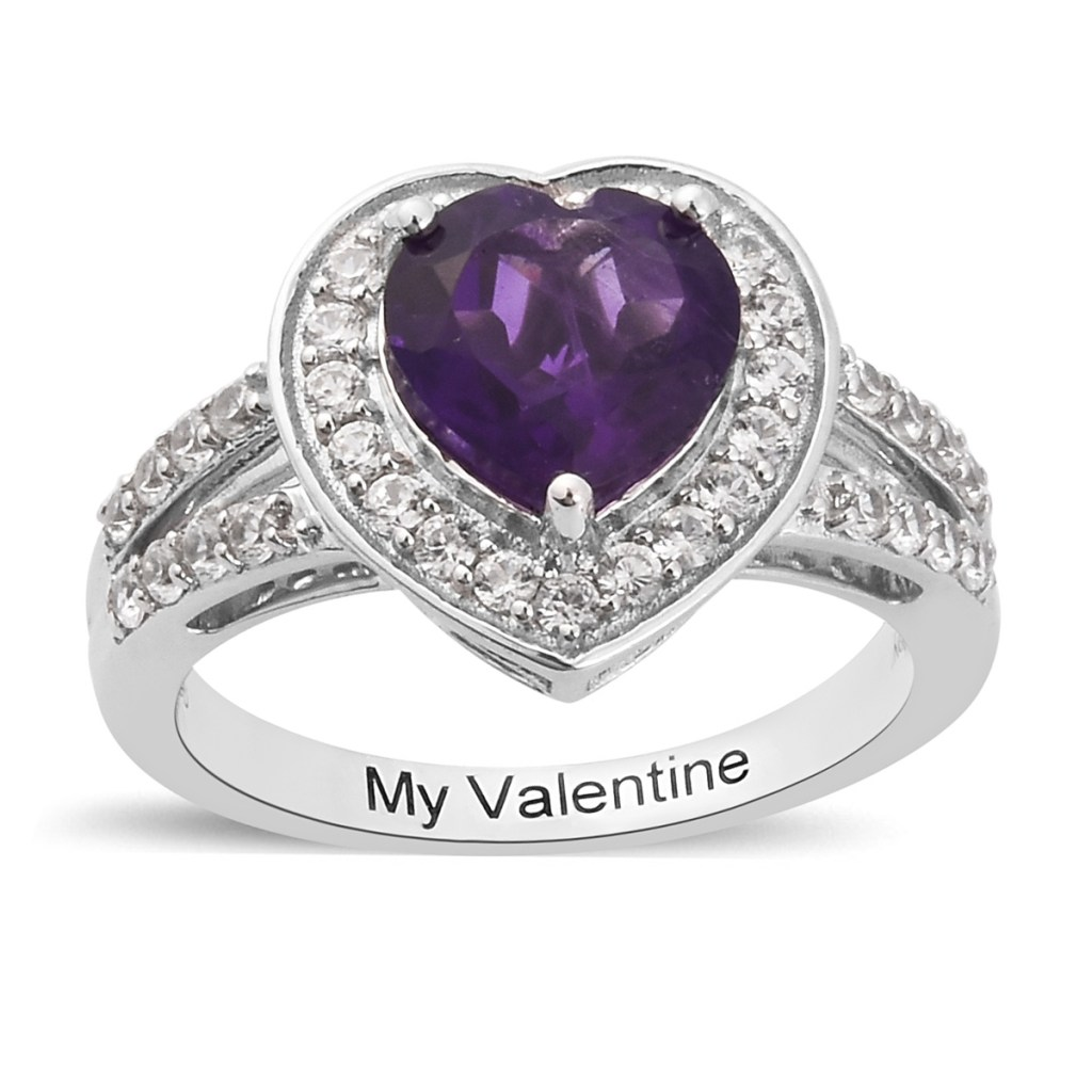 Sterling silver amethyst ring with heart shaped amethyst and inscription.