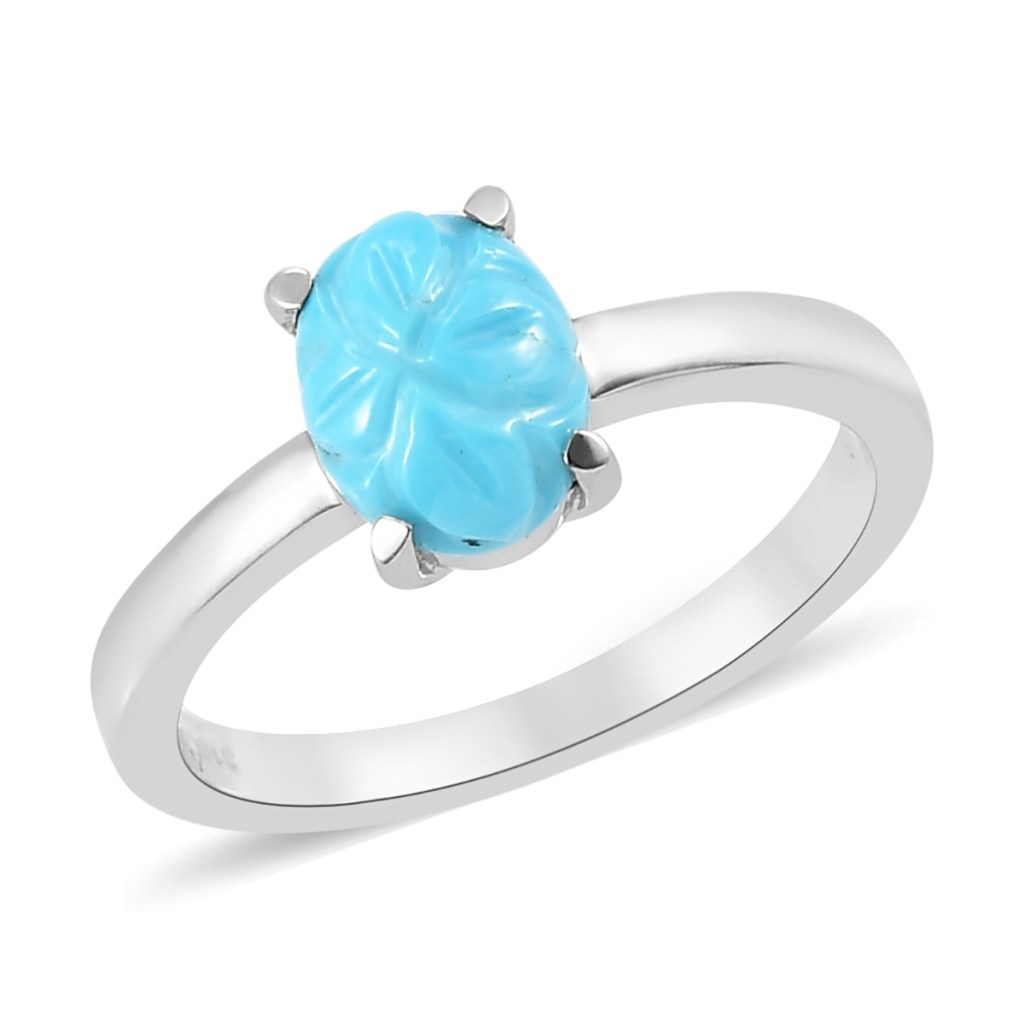 Carved turquoise ring.