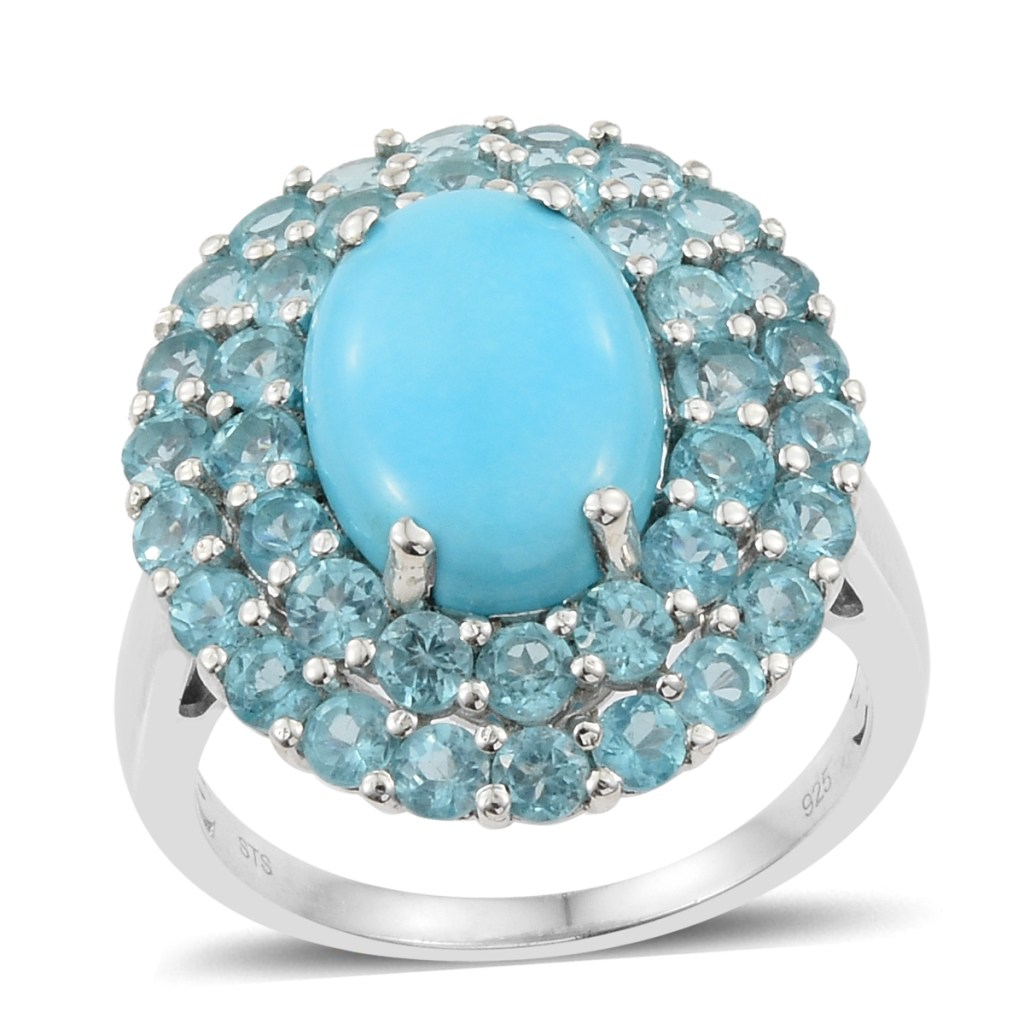 Turquoise double halo ring.