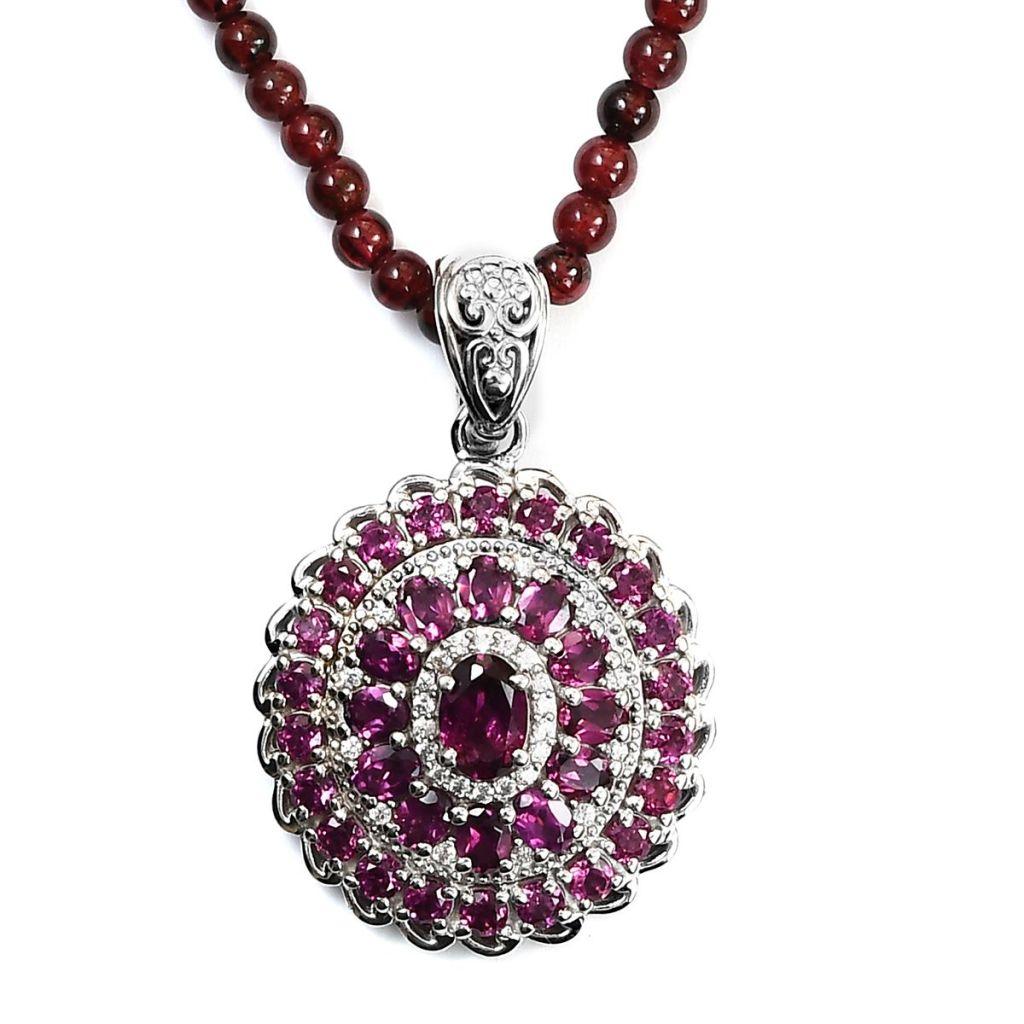 Orissa garnet pendant in sterling silver.