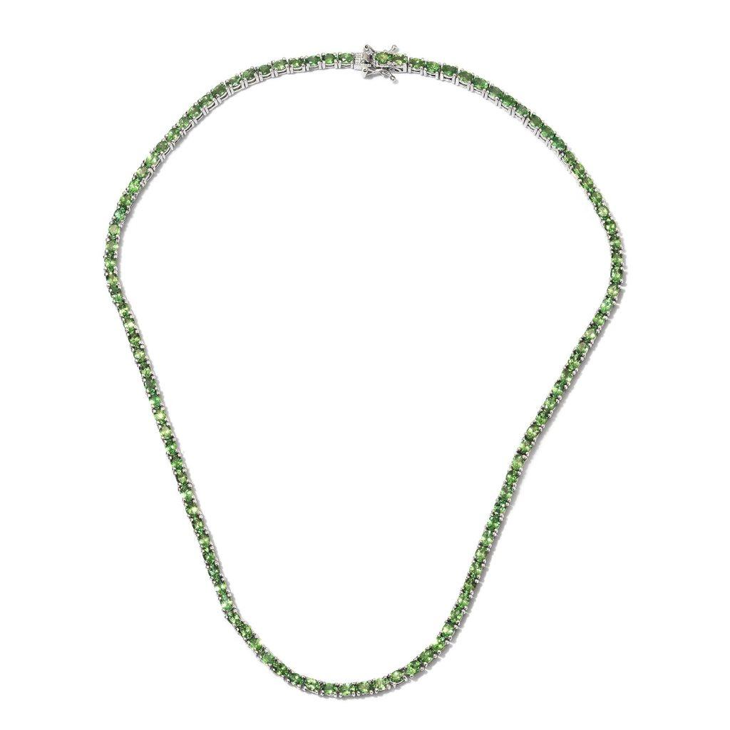 Tsavorite line necklace in sterling silver.