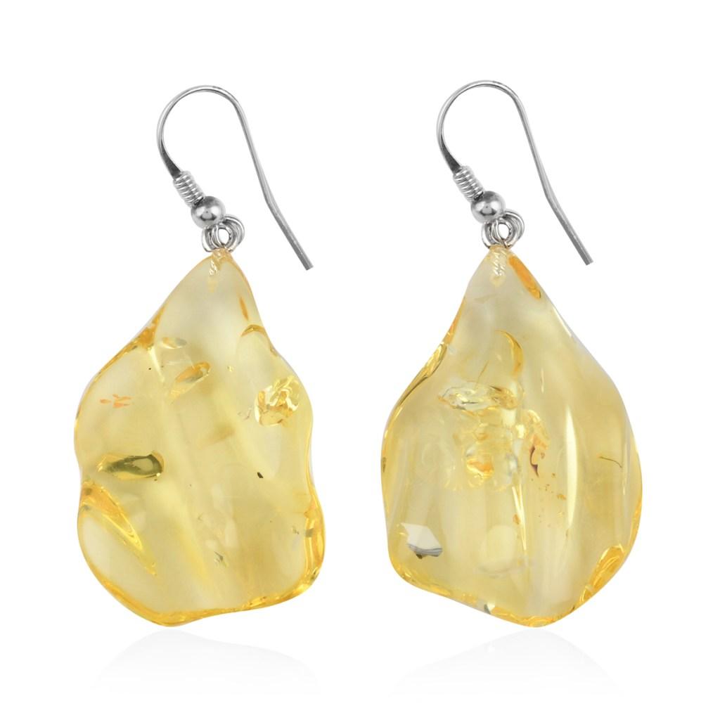Yellow amber fishhook earrings.