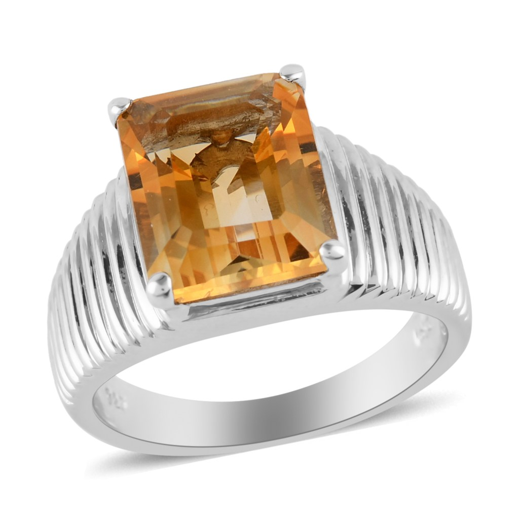 Citrine men's ring in sterling silver with subtle accents on shank.
