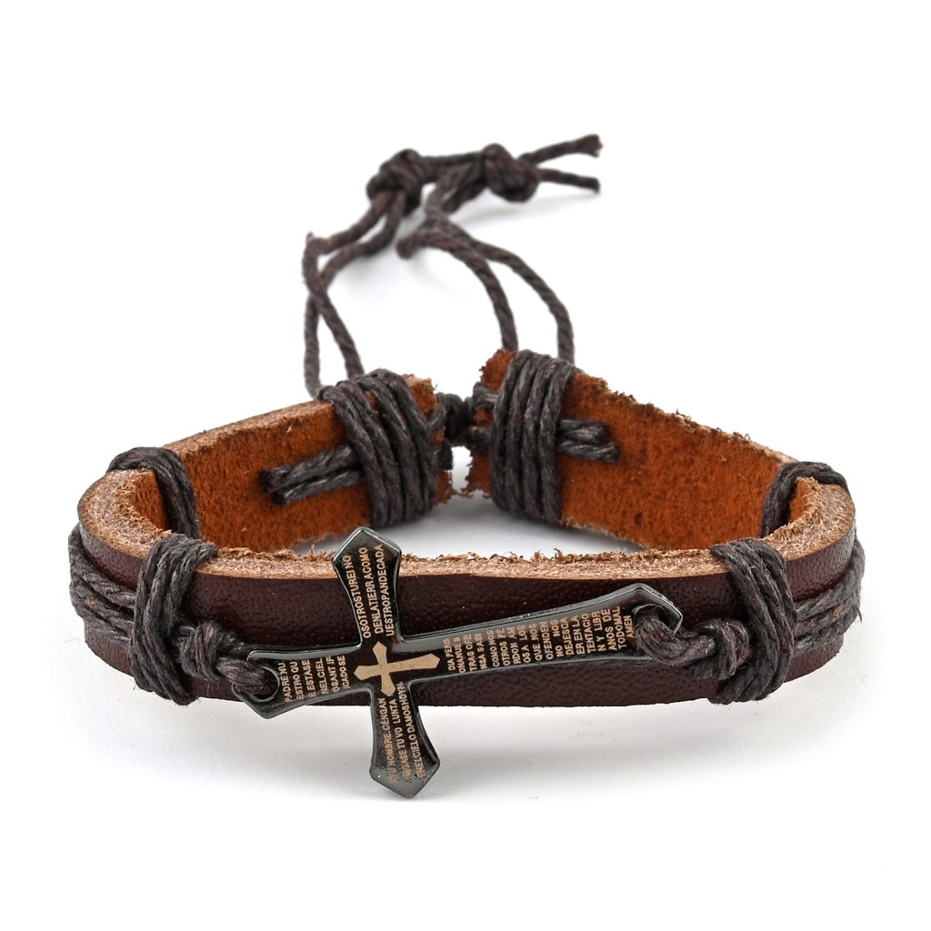 Brown leather men's bracelet with stainless steel cross.