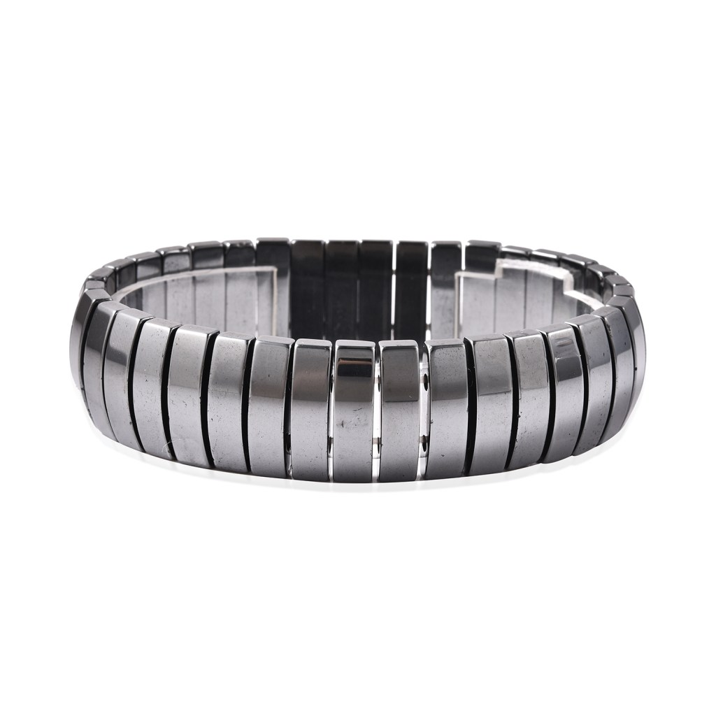 Gray hematite men's stretch bracelet.