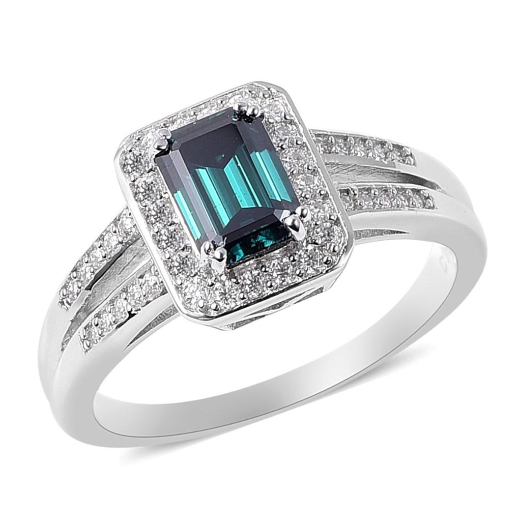 Blue moissanite ring.