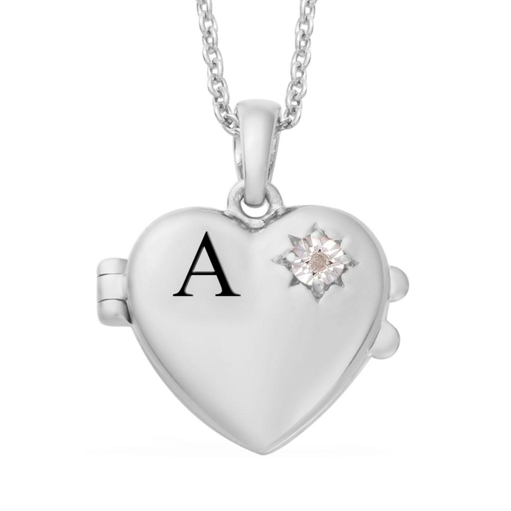 Sterling silver heart birthstone pendant.