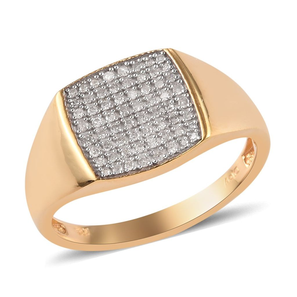 Simple broad diamond ring in yellow gold for men.