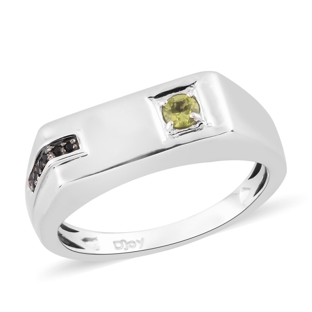 Peridot men's ring in sterling silver and black spinel accents.