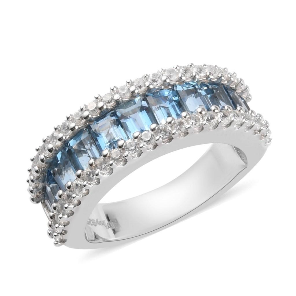 Blue gemstone eternity band.
