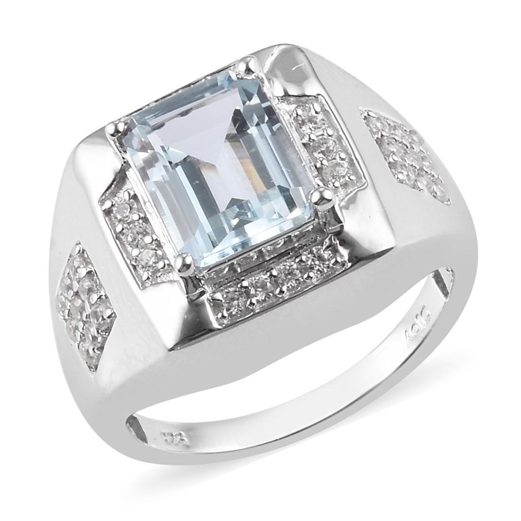 Silver blue gem men's ring.